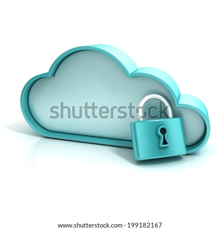 Cloud lock 3d computer icon isolated - stock photo