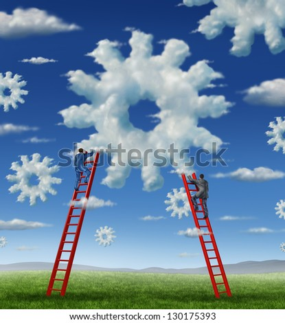 Cloud management business with a group of business people climbing red ladders to work on clouds shaped as a gear or cogs as a concept of a working team partnership with technology businessmen. - stock photo