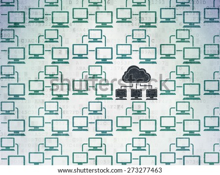 Cloud networking concept: rows of Painted blue lan computer network icons around black cloud network icon on Digital Paper background, 3d render - stock photo