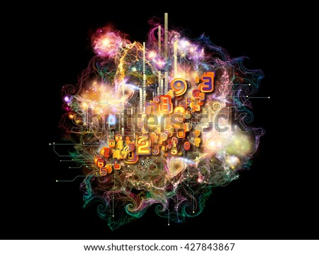 Cloud Networking series. Arrangement of numbers, colors and fractal elements on the subject of math, science, education and art - stock photo