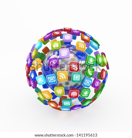 cloud of application icons - stock photo