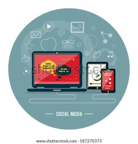 Cloud of application icons. Social media. Raster version - stock photo