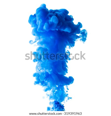 Cloud of blue liquid ink in the water, isolated on white background - stock photo