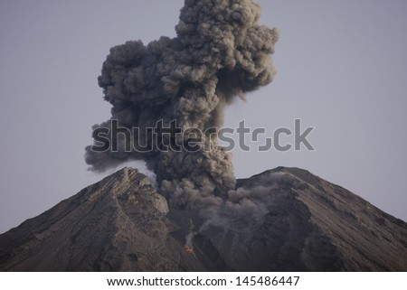 Cloud of volcanic ash from Semeru Java Indonesia - stock photo