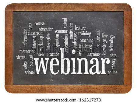 cloud of words or tags related to webinar (web seminar) and online education on a  vintage slate blackboard isolated on white - stock photo