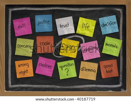 cloud of words related to ethics, color sticky notes on blackboard - stock photo