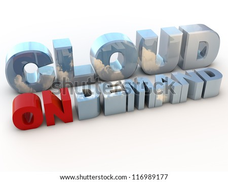 Cloud on Demand over white Background - stock photo
