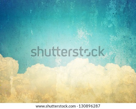 cloud on old paper texture background - stock photo