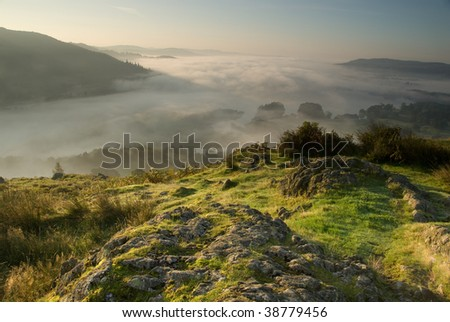 Cloud over Lake Windermere - stock photo