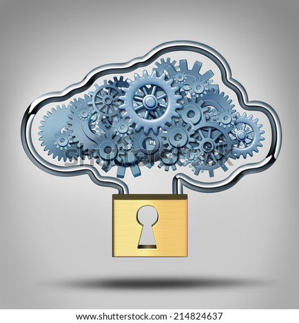 Cloud security concept and internet data protection symbol as a three dimensional lock providing protection to a group of gears shaped in a virtual server icon. - stock photo