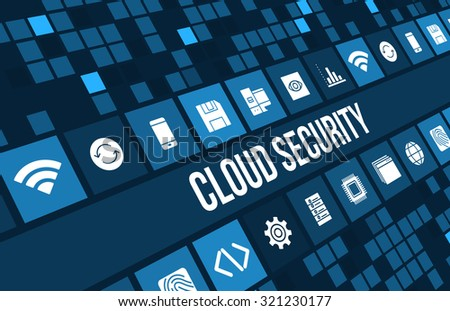Cloud Security concept image with technology icons and copyspace - stock photo