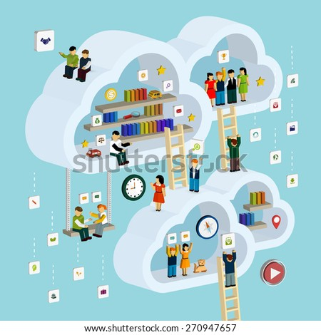 cloud service concept 3d isometric infographic with a man taking out a book from internet - stock photo