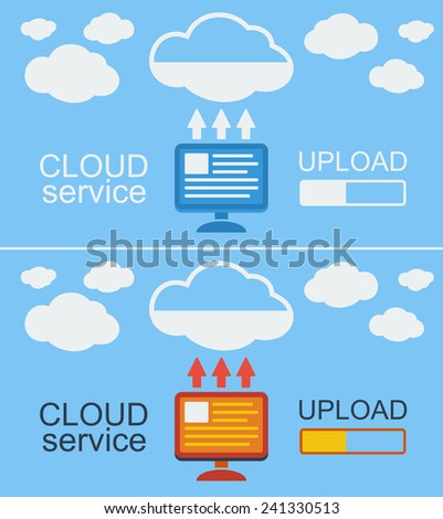 Cloud service concept on blue  background. Illustration. Data from computer loaded into the cloud. - stock photo