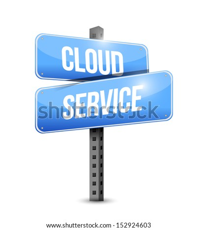 cloud service road sign illustration design over a white background - stock photo