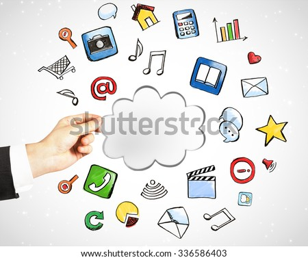 Cloud service technology with social media icons concept - stock photo