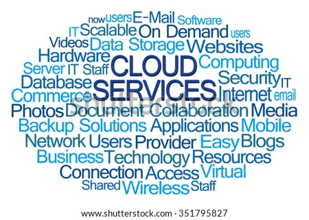 Cloud Services Word Cloud on White Background - stock photo