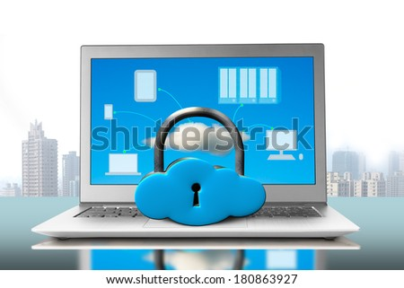 Cloud shape lock on notebook with device drawings in screen - stock photo