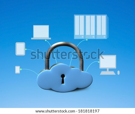 Cloud shape lock with computing devices blue background - stock photo