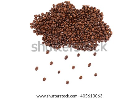 Cloud shape made of coffee beans over white background. - stock photo