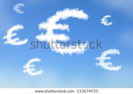 Cloud shaped as Euro currency sign, dreaming concept - stock photo