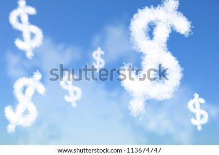 Cloud shaped as US Dollar currency sign, dreaming concept - stock photo