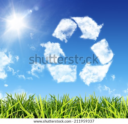 cloud-shaped icon recycling  - stock photo