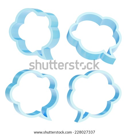 Cloud shaped light blue text bubble shapes isolated over the white background, set of four foreshortenings - stock photo