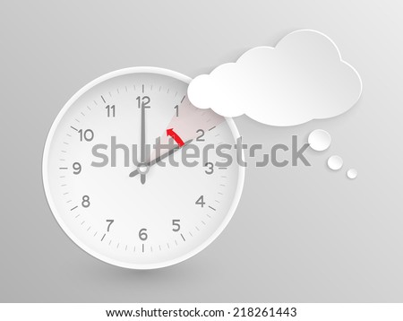 Cloud shaped speech bubble and clock with hands at 2 o'clock and an red arrow symbolizing the hour backward to 1 o'clock for the change of time in autumn, fall in  America on silver background. - stock photo