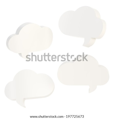 Cloud shaped white glossy text bubble shapes isolated over the white background, set of four foreshortenings - stock photo