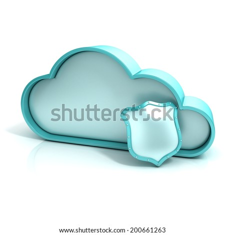 Cloud shield 3d computer icon isolated - stock photo