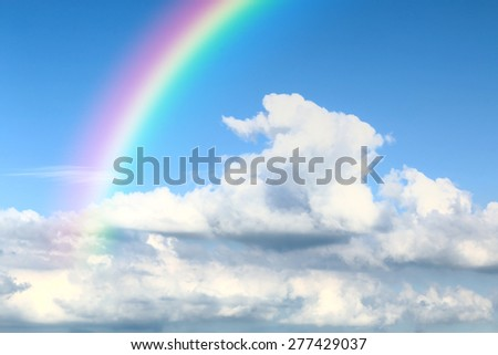 Cloud Sky with abstract rainbow - stock photo