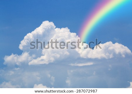 Cloud Sky with abstract rainbow moist colored spectrum - stock photo