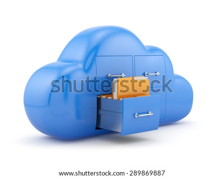 Cloud storage concept. Isolated on white background 3d illustration - stock photo