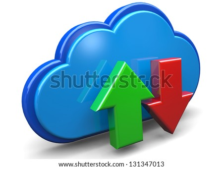 CLOUD STORAGE DONLOAD - 3D - stock photo