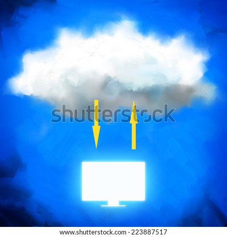 Cloud storage: painted concept illustration of modern data sharing way. - stock photo