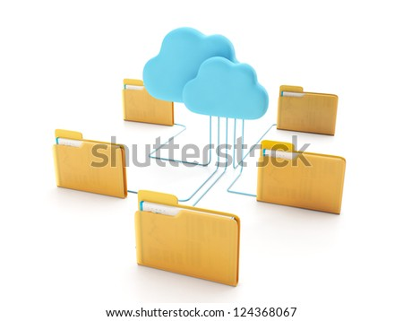Cloud technologies. Group of computer folders connected to the cloud - stock photo