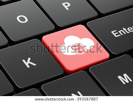 Cloud technology concept: Database With Cloud on computer keyboard background - stock photo