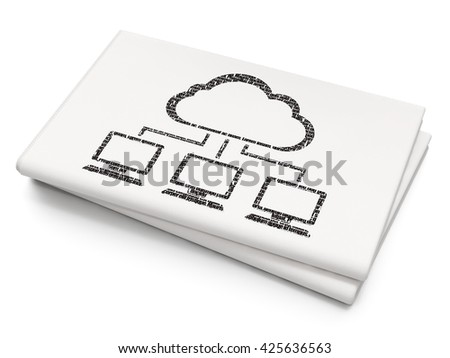 Cloud technology concept: Pixelated black Cloud Network icon on Blank Newspaper background, 3D rendering - stock photo