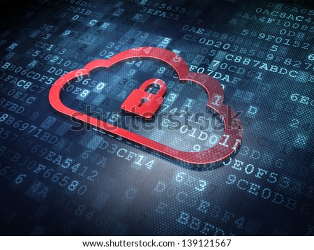 Cloud technology concept: Red Cloud Whis Padlock on digital background, 3d render - stock photo