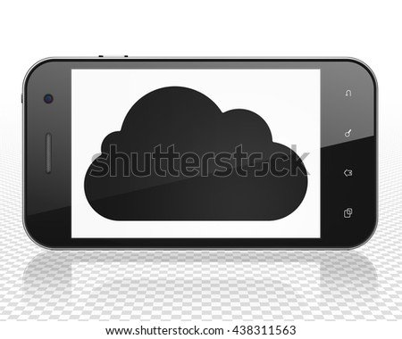 Cloud technology concept: Smartphone with black Cloud icon on display, 3D rendering - stock photo