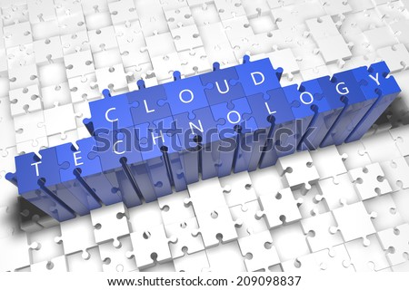 Cloud Technology - puzzle 3d render illustration with block letters on blue jigsaw pieces  - stock photo