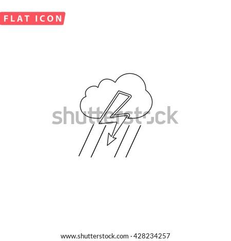 Cloud thunderstorm lightning rain. Black outline simple pictogram on white. Line icon - stock photo