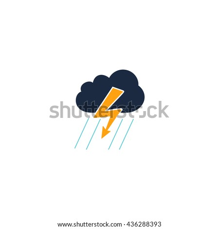Cloud thunderstorm lightning rain. Color simple flat icon on white background - stock photo