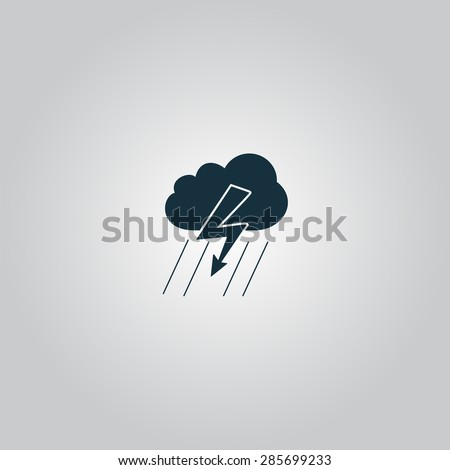 Cloud thunderstorm lightning rain. Flat web icon or sign isolated on grey background. Collection modern trend concept design style illustration symbol - stock photo
