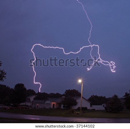 Cloud to ground lightning - stock photo