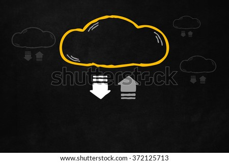Cloud transferring progress bar with copyspace. Transferring data concept on a blackboard, for online storage and backup. Hand drawn cloud with symbol of transfering data for online storage product. - stock photo