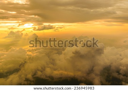 Cloud view Sunset, sunrise with clouds, light rays atmospheric effect  - stock photo