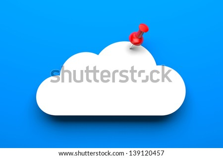 Cloud with pin - stock photo