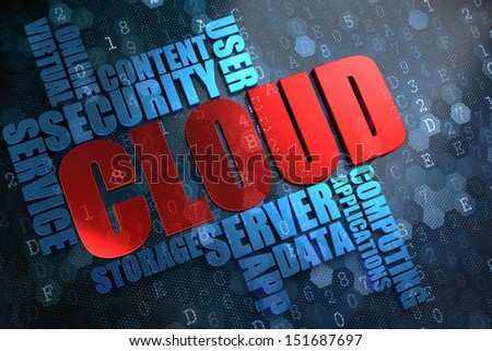 Cloud - Wordcloud Concept. The Word in Red Color, Surrounded by a Cloud of Blue Words. - stock photo
