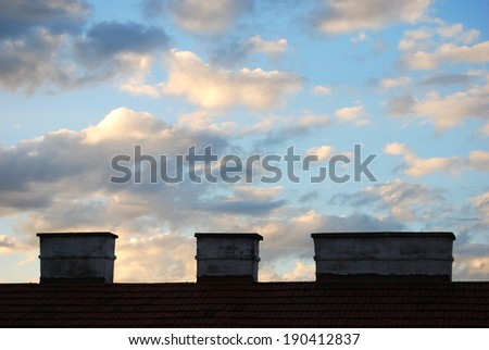 Clouded sky There is a evening mood with a clouded sky.  - stock photo